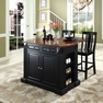 Drop Leaf Kitchen Island w/ Stools - Crosley - KF300071BK