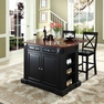 Drop Leaf Kitchen Island w/ X-Back Stools - Crosley - KF300073BK