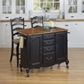 French Countryside Black Kitchen Cart and Two Stools - Home Styles - 5519-958
