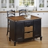 French Countryside Black Kitchen Island and Two Stools - Home Styles - 5519-948