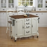 French Countryside White Kitchen Cart and Two Stools - Home Styles - 5518-958