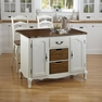 French Countryside White Kitchen Island and Two Stools - Home Styles - 5518-948