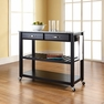 Granite Top Kitchen Cart/Island in Black - Crosley - KF30053BK