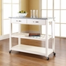 Granite Top Kitchen Cart/Island in White - Crosley - KF30053WH
