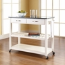 Granite Top Kitchen Cart/Island in White - Crosley - KF30054WH