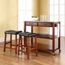 Granite Top Kitchen Cart/Island w/ Saddle Stools - Crosley - KF300534CH