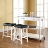 Granite Top Kitchen Cart/Island w/ Saddle Stools - Crosley - KF300534WH