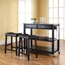 Granite Top Kitchen Cart/Island w/ Saddle Stools - Crosley - KF300544BK