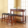 Granite Top Kitchen Cart/Island w/ Saddle Stools - Crosley - KF300544CH