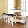 Granite Top Kitchen Cart/Island w/ Saddle Stools - Crosley - KF300544WH