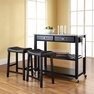 Granite Top Kitchen Cart/Island w/ Saddle Stools - Crosley - KF300534BK