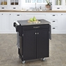 Kitchen Cart in Black with Stainless Top - Home Styles - 9001-0042