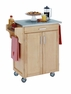 Kitchen Cart in Natural with Stainless Top - Home Styles - 9001-0012