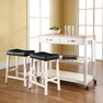 Kitchen Cart/Island w/ Saddle Stools - Crosley - KF300514WH