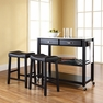 Kitchen Cart/Island w/ Saddle Stools - Crosley - KF300524BK