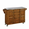 Large Kitchen Cart in Oak with Stainless Steel - Home Styles - 9100-1062