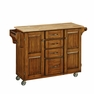 Large Kitchen Island Cart  in Oak w/ Wood Top - Home Styles - 9100-1061