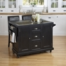 Nantucket Distressed Black Kitchen Cart and Two Stools - Home Styles - 5033-958