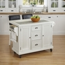Nantucket Distressed White Kitchen Cart and Two Stools - Home Styles - 5022-958