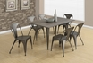 Rectangle Dining Table in Distressed Brown w/ Bronze Metal - Monarch - I 1080