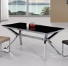 Rectangular Black Glass Dining Table with Nickel Finish Base  - Diamond Sofa - METRODT