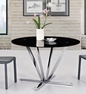 Round Black Glass Dining Table with Chrome Base  - Diamond Sofa - METRORDT