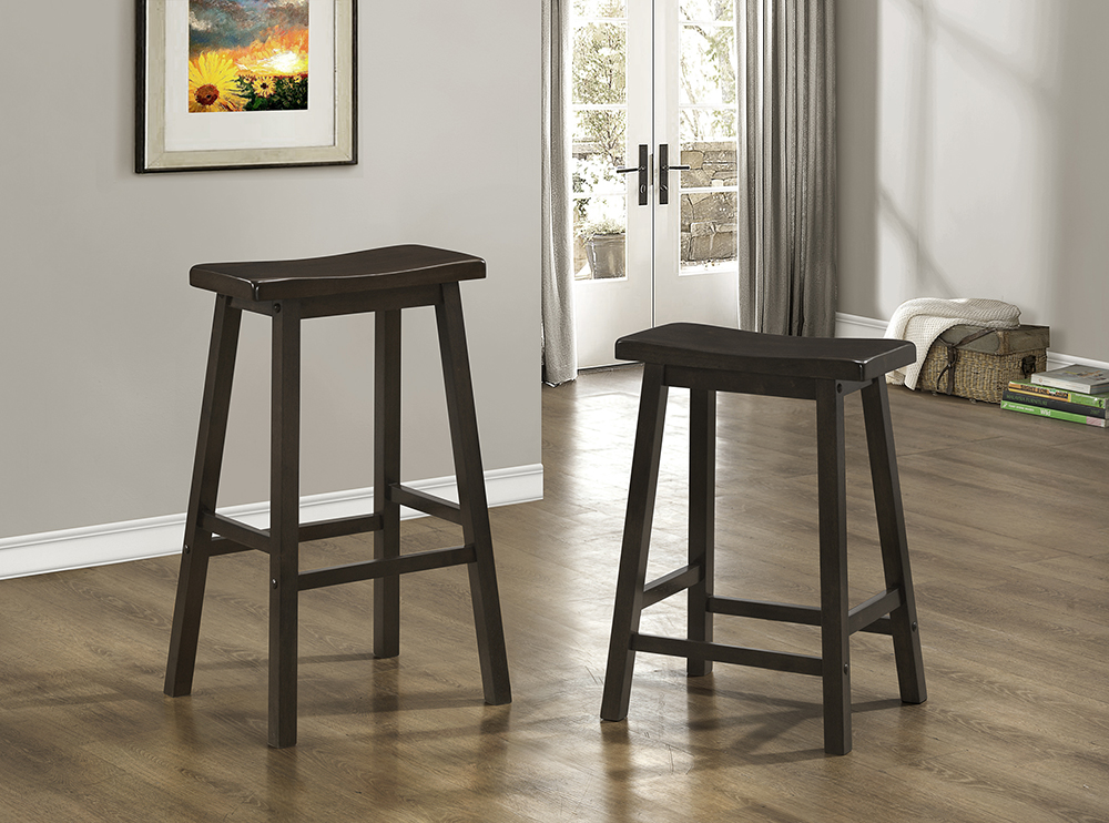 Saddle Seat Counter Stools Cappuccino (Set of 2) - Monarch - I 1535