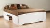 White Full Platform Storage Bed w/ 6 Drawers - PREPAC - WBD-5600-3K