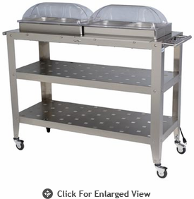 BroilKing®  Jumbo Buffet Cart w/Clear Rolltop Lids Extra Large Stainless Warming Surface