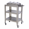 BroilKing�   Mobile Triple Buffet Warming Cart  With Clear Individual Lids