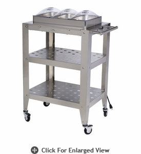 BroilKing®   Mobile Triple Buffet Warming Cart  With Clear Individual Lids