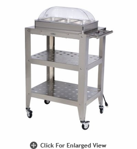 BroilKing�   Mobile Triple Buffet Warming Cart  With Rolltop Lids