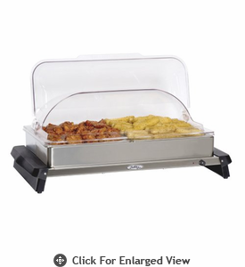 Broilking Professional Double Buffet Server w/ Stainless Base & Rolltop Lid