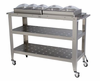 "Broilking Professional Grand Size Warming Cart w/ 3 - ""1/3"" Size Pans, 2 - ""1/2"" Size Pans & Lids"
