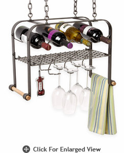 Enclume® Hanging Wine & Glass Rack 4 Bottle