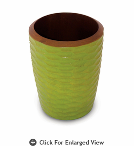 Enrico Mango Wood Honeycomb Utensil Vase Avocado