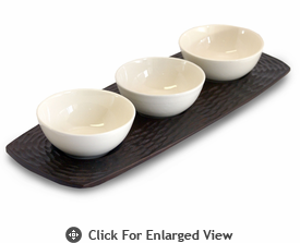 Enrico Products Chocolate Mango Wood 3 Bowl server