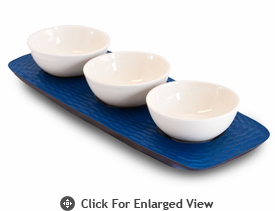 Enrico Products Deep Blue Mango Wood 3 Bowl server