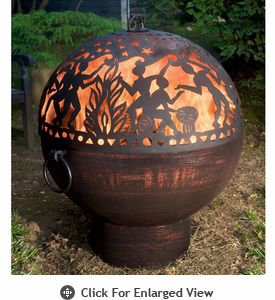 Good Directions  Full Moon Fire Bowl with Fire Dome  Tribal Scene