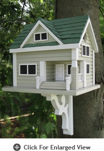 Home Bazaar Bungalow Birdhouse Grey w/ Green Roof