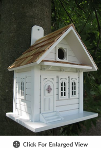 Home Bazaar Shotgun Cottage White Birdhouse