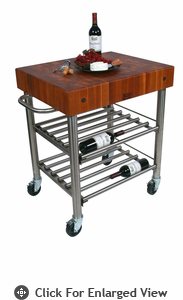 John Boos Cucina D' Amico Cherry End Grain Top Wine Cart