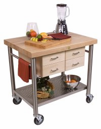 John Boos Cucina Veneto Thick Hard Maple Edge Grain Table with Varnique Finish