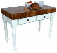 "John Boos Rustica 30"" Walnut Table With Alabaster Base"