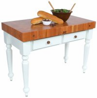 """John Boos Rustica 48"""" Cherry Table With Alabaster Base"""