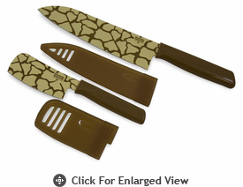 Kuhn Rikon Safari 6.5� Chef�s Knife and 3� Nakiri Knife Set Giraffe