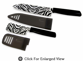 Kuhn Rikon Safari 6.5� Chef�s Knife and 3� Nakiri Knife Set Zebra