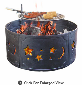 Landmann Fire Pit Big Sky® Fire Ring Stars & Moon Cast Iron