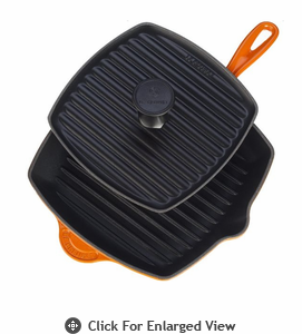 Le Creuset  Cast Iron Panini Press and Skillet Grill Set  Flame