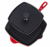 Le Creuset  Cast Iron Panini Press and Skillet Grill Set  Red